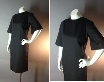 60s dress 1960s vintage BLACK FLARE SLEEVE silk embroidery trim dress deadstock nos