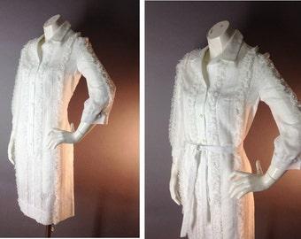 60s dress 1960s vintage WHITE LACE COTTON mod button new old stock nos shirt dress