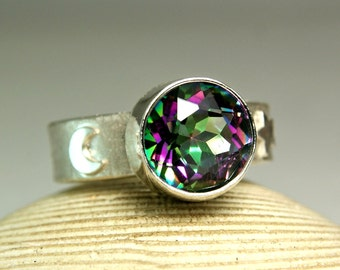 Sterling Mystic Topaz Galaxy Ring, Moon and Sun Jewelry, Bohemian Chic, Chunky Stone, custom sized
