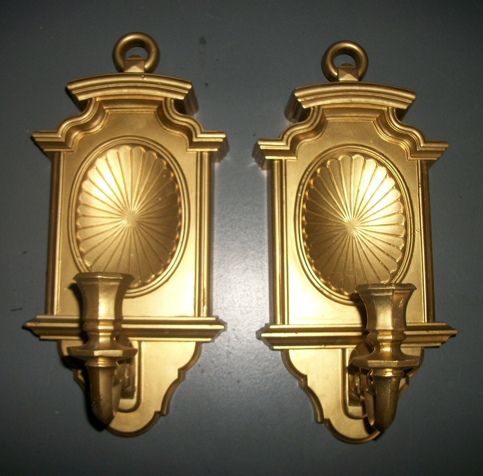 Wall Sconces Gold : Pair of Gold Homco Wall Candle Sconces