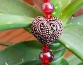 Filigree heart charm, bronze heart jewelry, Cherry red jewelry, short zipper pull, romantic dangly jewelry, CarolJoyFashions22 RTS RTS