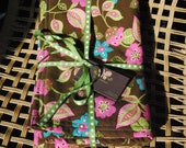 """Everyday Brown Floral Baby to Toddler Blanket - Pink Minky Dot - Ready to Ship - 26"""" x 30"""""""