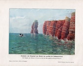 1900 LANGE ANNA HELGOLAND islandgermany landscape print original antique lithograph