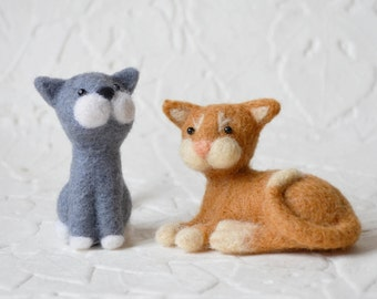 Riley and Rigby, needle felted cats, art fiber animal sculptures