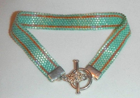 Bracelet Handmade Beadwoven in Aqua Blue and Summer Peach