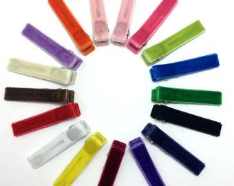 25 VELVET Lined Alligator Clips - Fully or Partially Lined Hair Clips - No-Slip - You Choose Colors - Velvet Ribbon Lined Hair Clips
