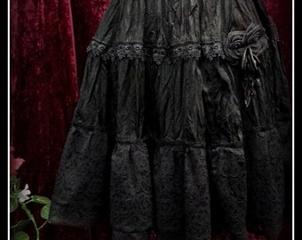 """Beautiful hand created black crushed satin skirt with Venetian lace trims and beads Size 30""""-48"""" gothic"""