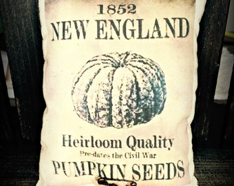 Vintage seed packet | Pumpkin seed packet | Fall pillow | Fall decor | Seed Packet print | Autumn Decorations | Fall decorating ideas