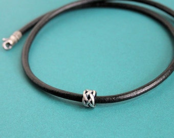 Mens Leather Cord Necklace Silver Bead Choker