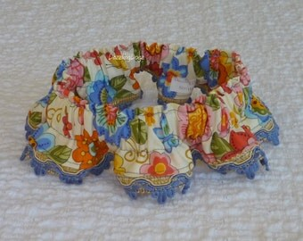 "Flowers and Butterflies Dog Scrunchie Collar with blue gimp trim - Size L: 16"" to 18"" neck -  TrY Me PRiCe"