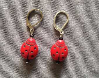 red and black ladybug earrings