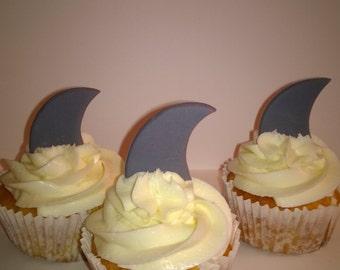 12 Fondant Shark Fin cupcake toppers