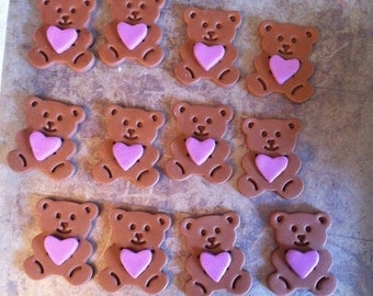 12 Valentine's Day Fondant Teddy Bear cupcake toppers
