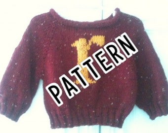 PATTERN - Baby Sweater - Pullover - with Monogrammed Small r