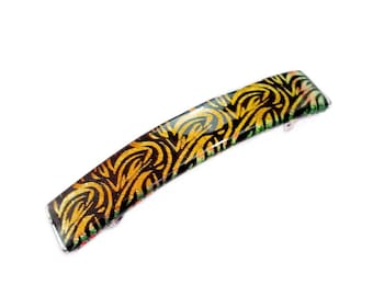 Hair Barrette, French Clips for Women, Gold & Black Dichroic Glass , Extra Large