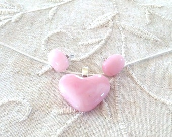 Pendant Necklace Pink Heart, Earrings , Stained Glass Jewelry