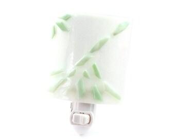 Night Light Plug In, White & Green Art Glass, Home Decor