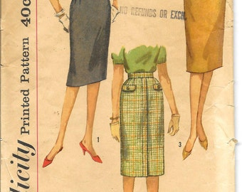 SIMPLICITY 3626 Waist 27 Hip 37, Vintage 1950's Slim Straight Knee-Length Skirts Retro Pattern