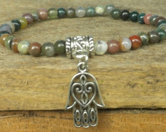 Fancy Jasper and Hamsa Hand Charm Bracelet; Yoga, Protection, Energy, Meditation, Healing, Mala, Japa