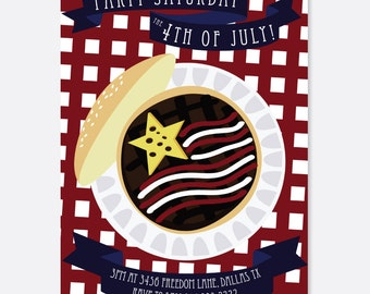 4th of July Invitation:  Flag Burger