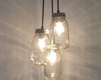 Mason Jar PENDANT Light Cluster Trio with New Quarts