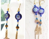Tassel Earrings Blue Cloisonne by MinouBazaar