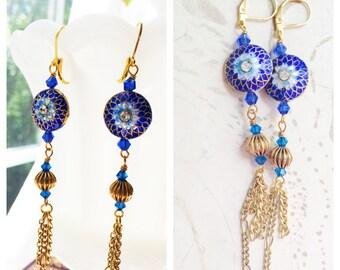 Tassel Earrings Blue Cloisonne by MinouBazaar