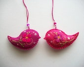 Felt Ornaments Fuchsia and Hot Pink Bird Decoration Wall or Tree Hangings Hand Embroidered Handsewn 2 pieces