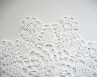 Crochet Doily White Cotton Lace Table Topper with Flower Edge Heirloom Quality