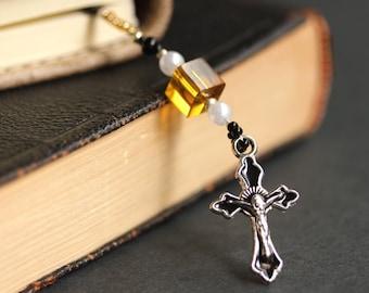 Christian Bookmark. Enameled Black Cross Bookmark. Amber Book Marker. Beaded Book Thong. Black Crucifix Bookmark. Handmade Bookmark.