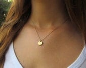 Holiday Sale - Gold Pebble Necklace, Simple Gold Necklace, Gold Necklace, Simple Gold Organic Jewelry
