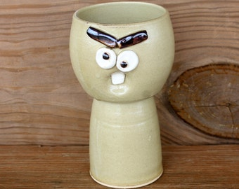 Wine Glass Toasting Goblet. Dessert Chalice in Rustic Tan. Funny Face Pottery. 14 Ounces. Handmade Stoneware Clay Goblet. Unique Cups.