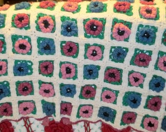 """Hand Made Vintage  Knit Crochet Throw Blanket Afghan Granny Squares 41"""" x  30""""  3-D flowers Roses Pinks Blues White Green"""