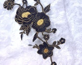 """GB158 Black Gold Metallic Rose Embroidered Applique Iron On Patch 10"""" (GB158-bkgl)"""