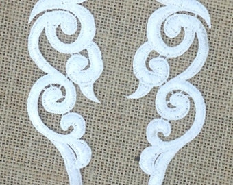 """GB249 Embroidered Appliques MIRROR PAIR White Patch 6.75""""  (GB249X-wh)"""