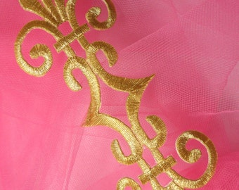 """GB154 Embroidered Applique Gold Metallic Iron On Patch 7"""" (GB154-gl)"""