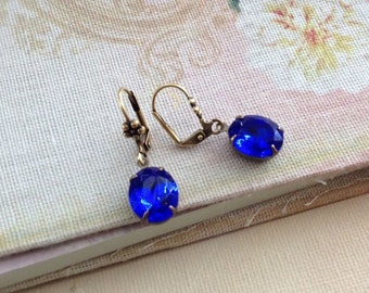 Sapphire Blue Glass Earrings, Vintage Glam Estate Style Dangle Earrings