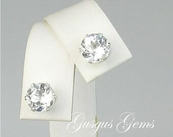 White Topaz 7mm Sterling Silver Stud Earrings 3.50ctw