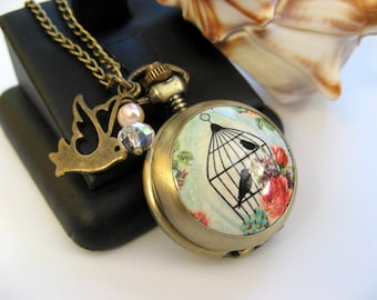Watch Necklace - Victorian Rose & Bird Cage Watch Necklace - Bronze - Peach Pearl Jewelry