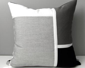 Black White & Grey Pillow Cover, Modern Outdoor Color Block Pillow Case, Decorative Gray Sunbrella Throw Pillow Cushion Cover, Mazizmuse