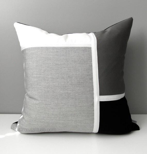 Outdoor Color Black White Black White & Grey Pillow Cover, Modern Outdoor Color Block Pillow Case, Decorative Gray
