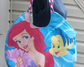 Little Mermaid ..Ariel .. Flounder and Sebestain.. Lg Round Tote--OOAK   Disney Princess