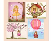 Kids wall art, nursery art, childrens room decor, art, set of 4 posters for girls room