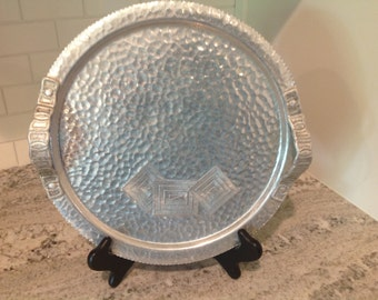 Vintage Hammered Aluminum Etched Round Serving Tray with Handles