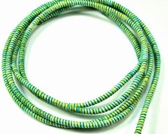 Green striped cotton cord, multicolor cotton rope , 1m