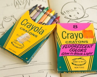 Vintage Crayola Crayon Box of 8 Original Colors and/or Box of 8 Flourescent VGC / Your Choice