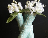 Triple Stem Vase Aqua Ceramic Glazed Vessel