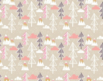 Snow Day by Maude Asbury Winter Fabric Arctic Polar Animals Tree Trees on Taupe Beige