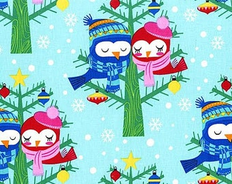 Christmas Fabric by Michael Miller Holiday Love Birds In Winter Clothes Cuddling in Tree on Blue