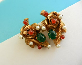Gorgeous ROBERT signed  Earrings  -  1950s vintage floreal design with art glass stones and tiny pearls -  art.833/3 -
